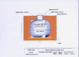 plan fouille cuve bulle 7000 L citerne